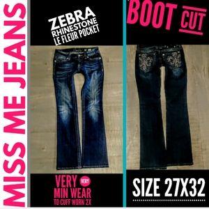 Miss Me Jeans Size 27X32 Zebra Rhinestone Le Fleur